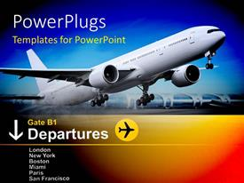PowerPlugs: PowerPoint template with white commercial airplane takes off from airport with departure information