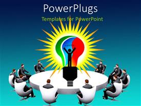 PowerPlugs: PowerPoint template with white conference table with business men seated round and light bulb in center