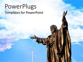 PowerPlugs: PowerPoint template with a white cross with a tall bronze statue of Jesus Christ