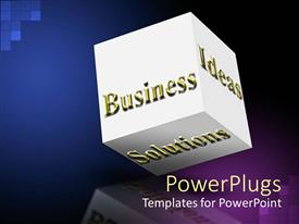 PowerPoint template displaying white cub with gold Business, Ideas and Solutions text