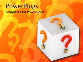 PowerPoint template displaying white cube with colored 3D question mark sign on sides