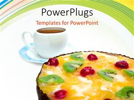 PowerPlugs: PowerPoint template with white cup of coffee with cottage cheese and pie fruit