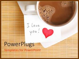PowerPlugs: PowerPoint template with white cup of coffee with love note and red heart symbol