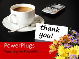PowerPlugs: PowerPoint template with white cup of coffee and saucer with cell phone on black background