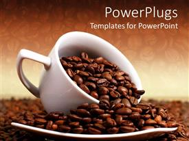 PowerPlugs: PowerPoint template with a white cup overloaded with roasted coffee beans