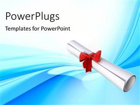PowerPlugs: PowerPoint template with white diploma certificate with red ribbon on blue surface