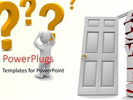 PowerPlugs: PowerPoint template with a door with a person who is confused