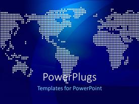 PowerPoint template displaying white dots form the world map over blue surface