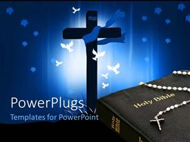 PowerPoint template displaying white doves flying round cross with crucifix sitting on Holy Bible