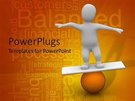 PowerPlugs: PowerPoint template with white figure balancing on orange ball, business word cloud background