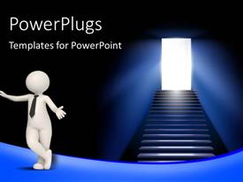 PowerPlugs: PowerPoint template with white figure in black tie standing next to stairway leading to brightly lit doorway