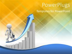 PowerPlugs: PowerPoint template with white figure with briefcase wearing black tie walking along upward pointing blue arrow