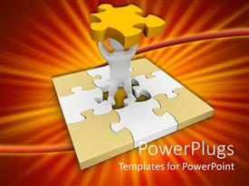 PowerPlugs: PowerPoint template with white figure in center of jigsaw puzzle holds missing middle piece overhead