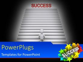 PowerPlugs: PowerPoint template with white figure climbing stairway to success