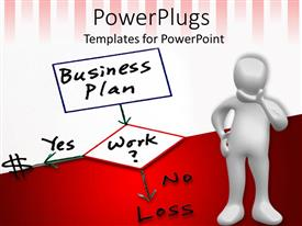 PowerPoint template displaying white figure contemplating business plan flowchart