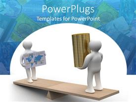 PowerPoint template displaying white figure with credit card standing opposite figure with stack gold coins on lever