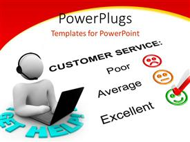 PowerPlugs: PowerPoint template with white figure with headset and laptop next to customer service feedback form