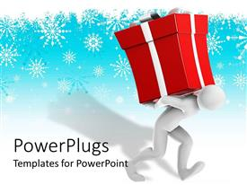 PowerPlugs: PowerPoint template with white figure holding red gift box with bow on blue snowflake background