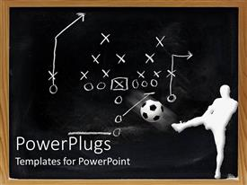 PowerPlugs: PowerPoint template with white figure kicking ball in front of sports play diagram