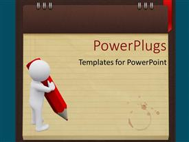 PowerPlugs: PowerPoint template with white figure with large red pencil standing on lined note paper