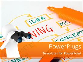 PowerPlugs: PowerPoint template with white figure looking through binoculars at mind map with orange highlighter