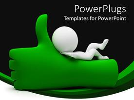 PowerPlugs: PowerPoint template with white figure lying on green thumbs up hand