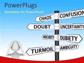 PowerPlugs: PowerPoint template with white figure next to sign post with confusion related words