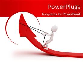 PowerPlugs: PowerPoint template with white figure pulling back reins on red arrow