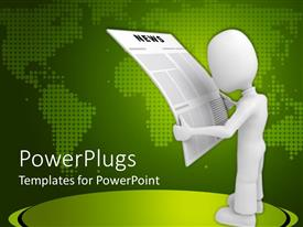 PowerPlugs: PowerPoint template with white figure reading newspaper against greenmap background