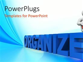 PowerPlugs: PowerPoint template with white figure reading red book seated on blue 3D ORGANIZE sign