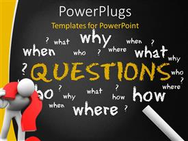 PowerPlugs: PowerPoint template with white figure with red interrogative around neck in front of chalkboard with question words