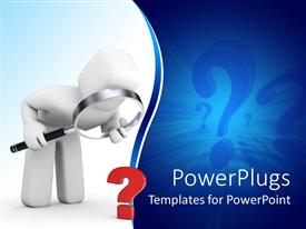 PowerPlugs: PowerPoint template with white figure searching for answer to question with magnifying glass