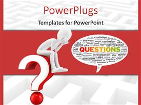 PowerPlugs: PowerPoint template with white figure sitting on interrogative with conversation bubble filled with question word cloud