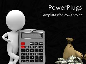 PowerPlugs: PowerPoint template with white figure standing with calculator next to money bag and stack of money