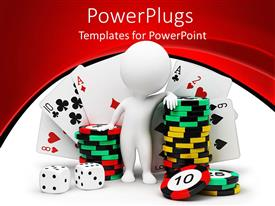 PowerPoint template displaying white figure standing next to stack of casino chips, dies and cards