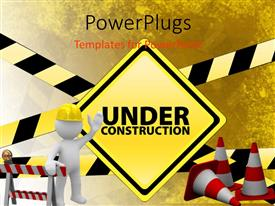 PowerPlugs: PowerPoint template with white figure wearing hard hat standing in front of large Under Construction sign