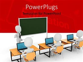 PowerPoint template displaying white figure wearing tie standing by chalkboard with pointer in front of other figures at desks using laptops