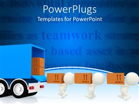 PowerPlugs: PowerPoint template with white figures carrying brown cardboard boxes out of blue truck