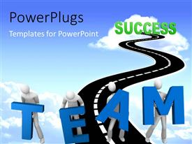 PowerPlugs: PowerPoint template with white figures carrying large blue letters TEAM on narrow highway into cloud of success