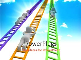PowerPlugs: PowerPoint template with white figures climbing ladders into the sky
