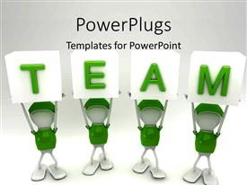 PowerPlugs: PowerPoint template with white figures in green uniforms holding up TEAM alphabet blocks