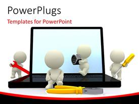 PowerPlugs: PowerPoint template with white figures holding various tools around open laptop