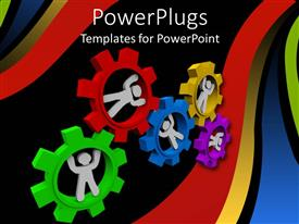 PowerPlugs: PowerPoint template with white figures inside multicolored meshed gears turning together