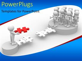 PowerPlugs: PowerPoint template with white figures on pedestals building jigsaw puzzle bridge