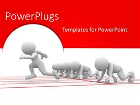 PowerPlugs: PowerPoint template with white figures poised to race with on figure taking off first