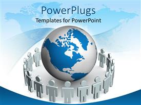 PowerPlugs: PowerPoint template with white figures standing around globe with world map in the background