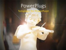 PowerPlugs: PowerPoint template with a a white figuring of an angel playing a violin