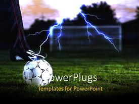 PowerPlugs: PowerPoint template with white football ball over green grass with lighting