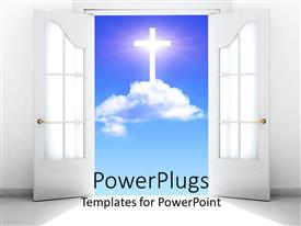 PowerPoint template displaying white French doors open revealing white cross