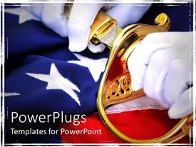 PowerPlugs: PowerPoint template with white gloved hands pulling a sword from a golden scabbard on a flag